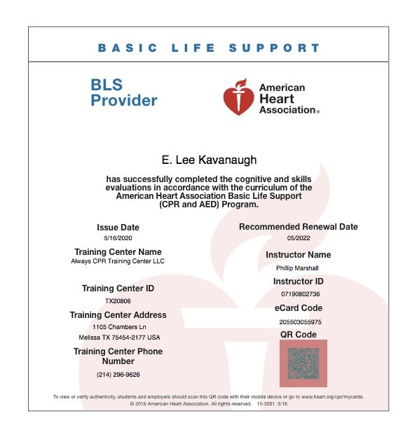Basic Life Support Certificate
